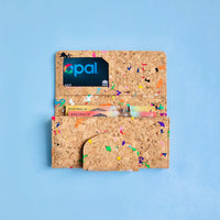 The inside of By The Sea Collection, Fara, colourful women's vegan cork leather wallet