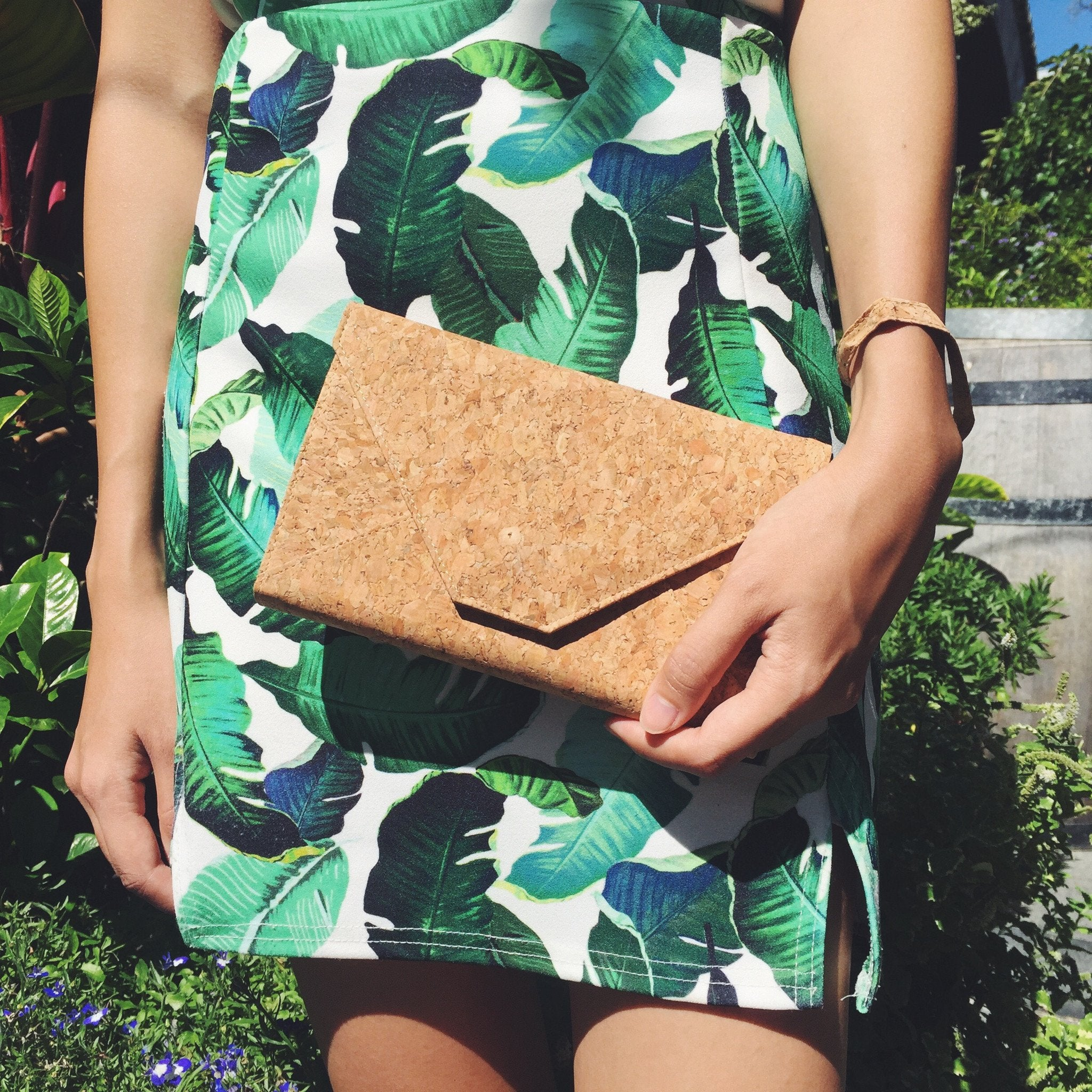 Plain Classic Flora Cork Clutch Crossbody Purse Natural Cruelty Free Ethical Vegan Recycled