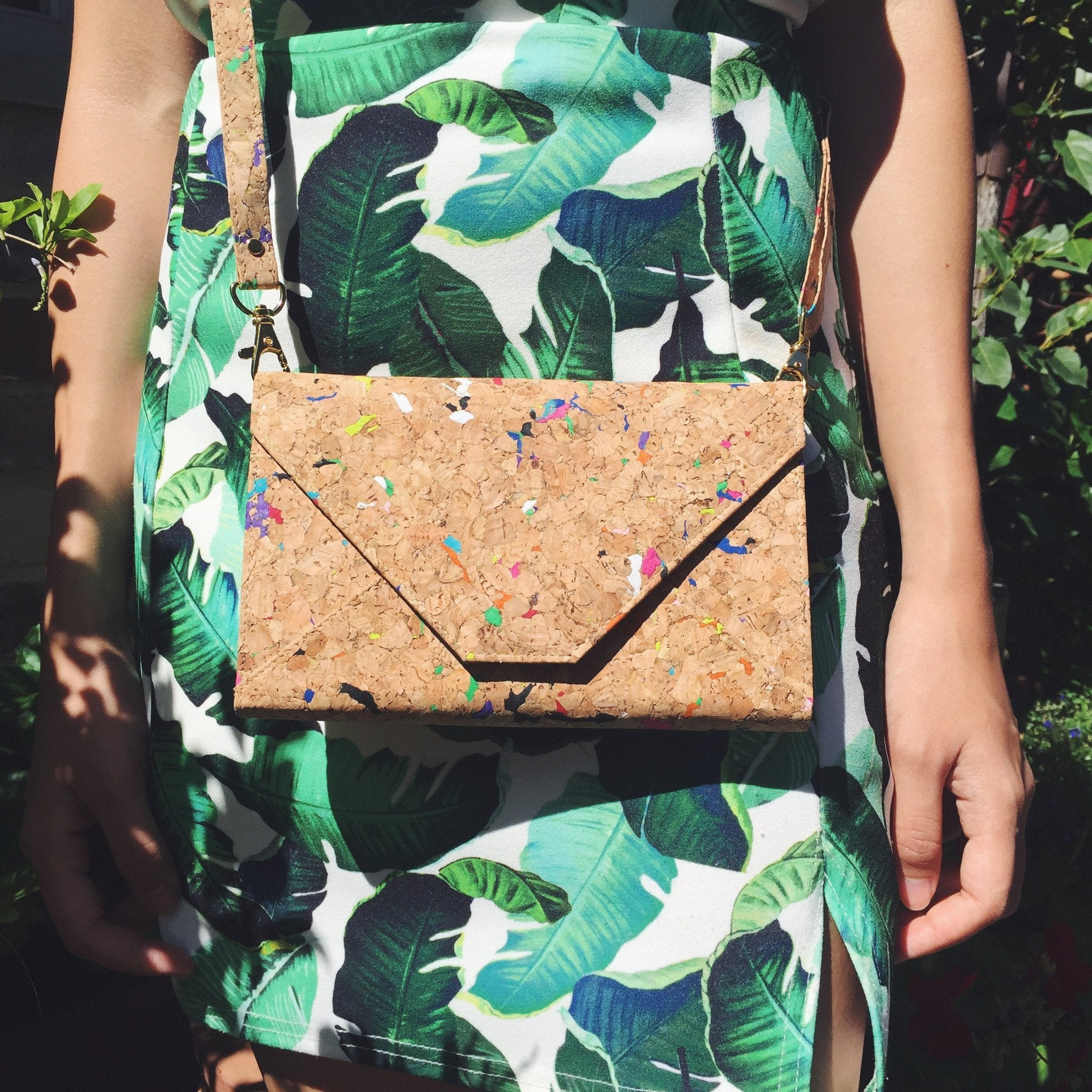 Colourful Vivid Flora Cork Clutch Crossbody Purse Cruelty Free Ethical Vegan Recycled