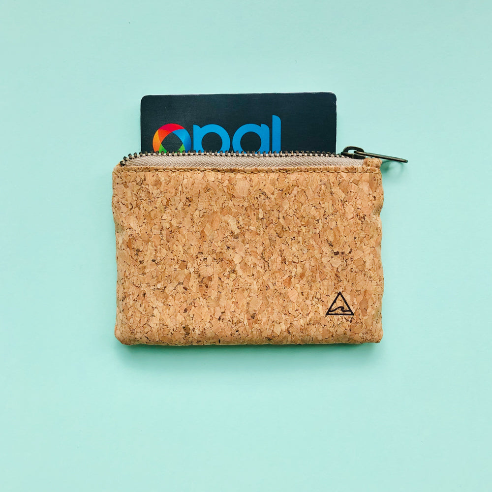 Opal card inside of By The Sea Collection, Gigi, vegan cork leather coin pouch