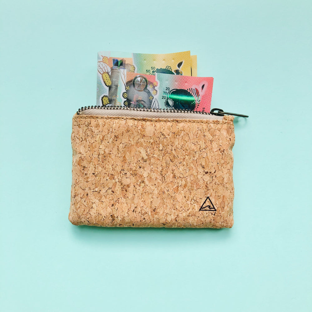Australian money inside of By The Sea Collection, Gigi, vegan cork leather coin pouch