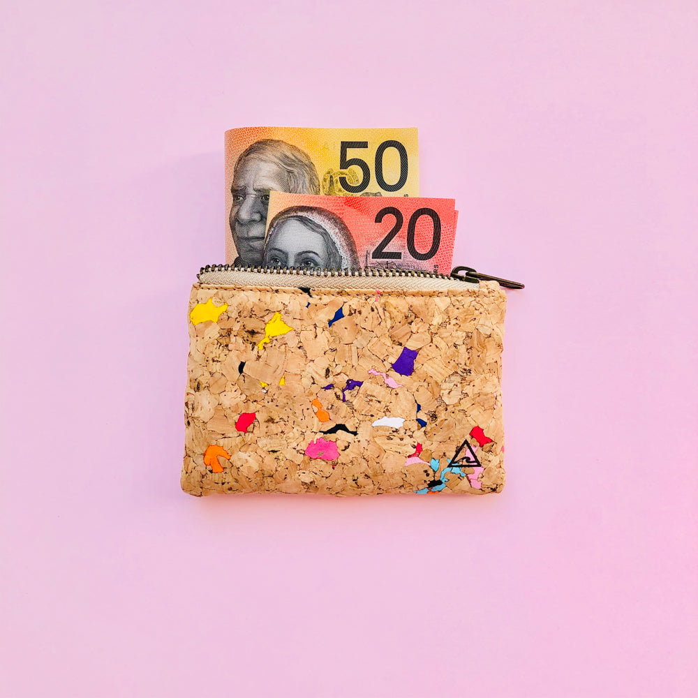 Australian money inside of By The Sea Collection, Gigi, Colourful Vegan Cork Leather Coin Pouch