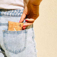 By The Sea Collection, Gigi, colourful vegan cork leather coin pouch in jeans pocket