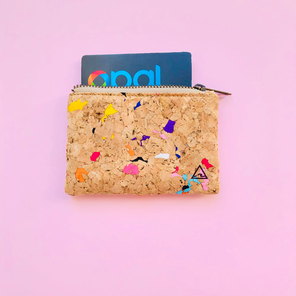 Opal Card inside of By The Sea Collection, Gigi, Colourful Vegan Cork Leather Coin Pouch