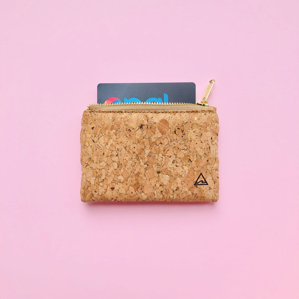 Opal card inside By The Sea Collection, Gigi, gold vegan cork leather coin pouch