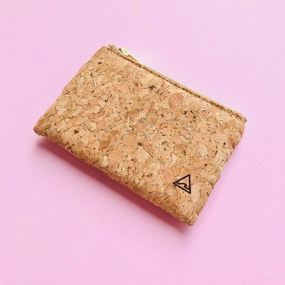 By The Sea Collection, Gigi, gold vegan cork leather coin pouch