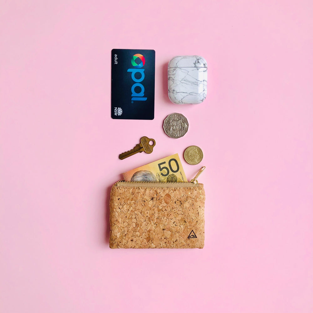 Daily essentials with By The Sea Collection, Gigi, gold vegan cork leather coin pouch