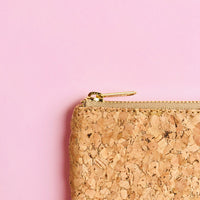 YKK metal zipper detail of By The Sea Collection, Gigi, gold vegan cork leather coin pouch