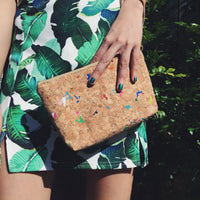 Colourful Vivid Miley Cork Makeup Clutch Bag Cruelty Free Ethical Vegan Recycled