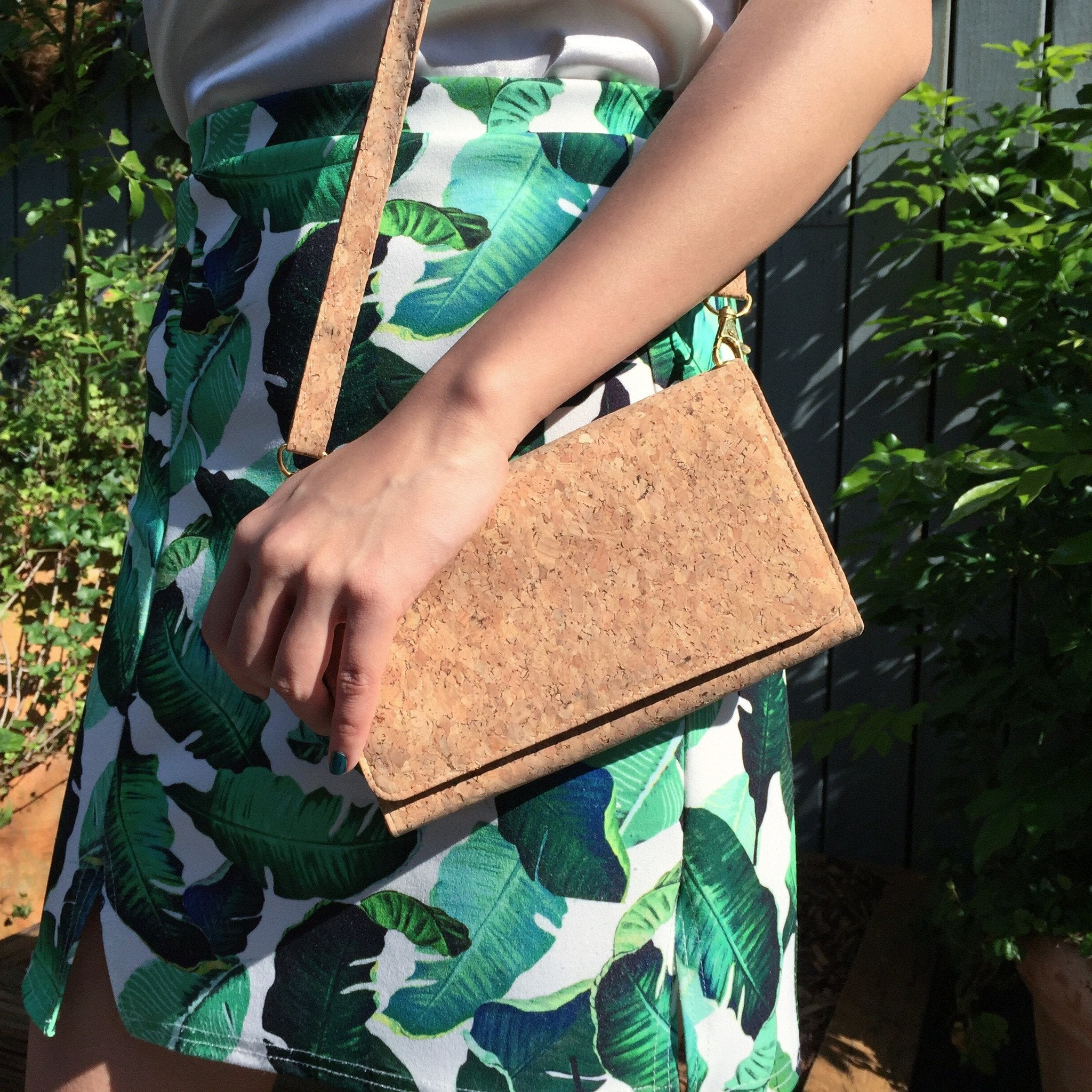 Plain Classic Lyla Cork Clutch Crossbody Purse Natural Cruelty Free Ethical Vegan Recycled
