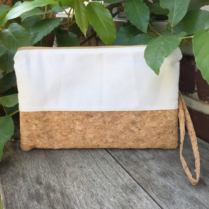 Plain Classic Annie Cork and Canvas Clutch Bag Natural Cruelty Free Ethical Vegan Recycled