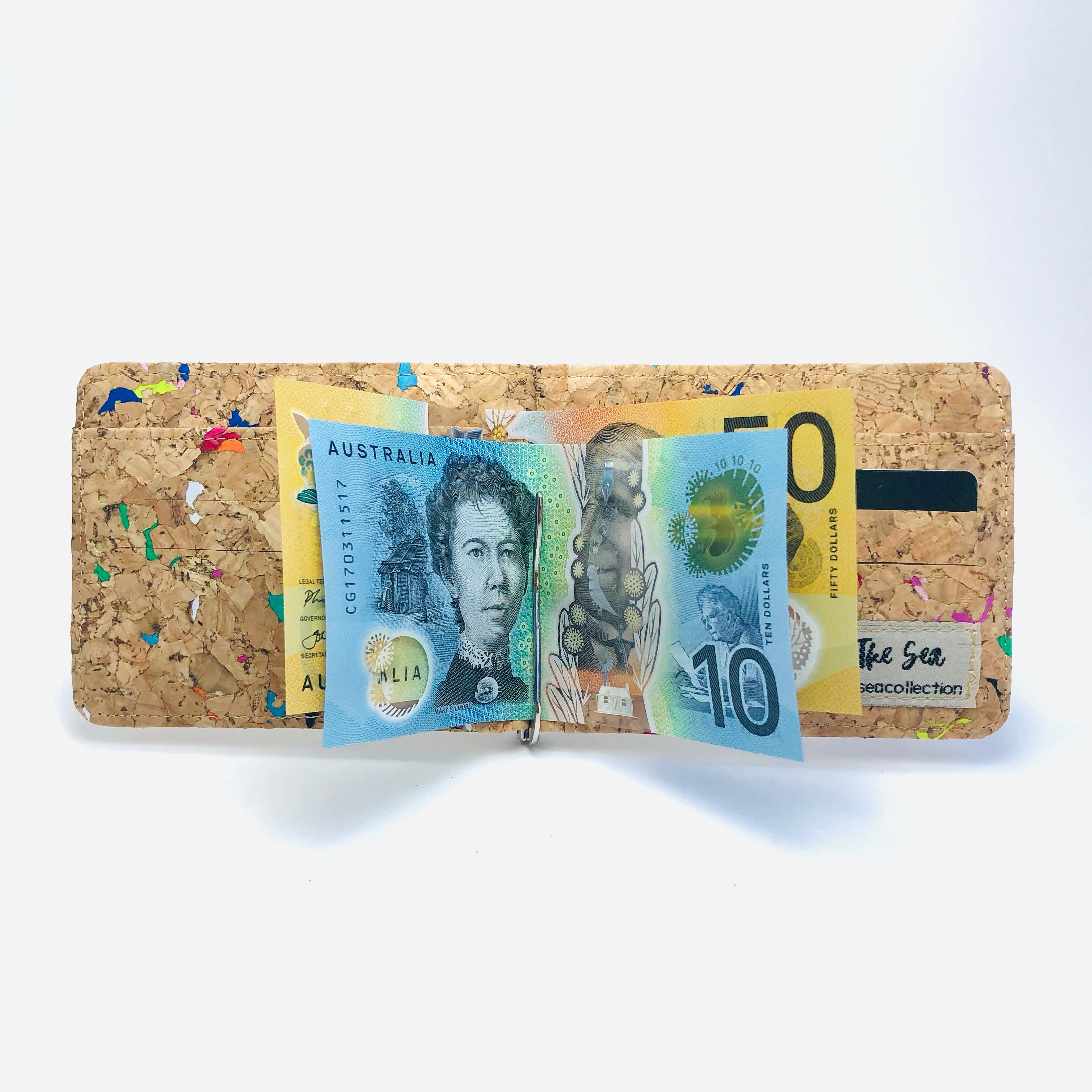 Matt Money Clip Cork Wallet in Vivid