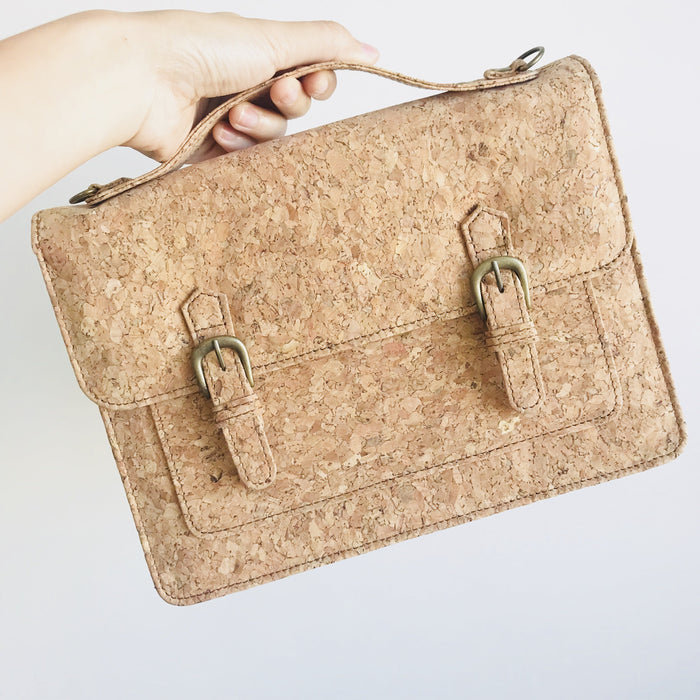 Plain Classic Kiera Cork Crossbody Handbag Natural Cruelty Free Ethical Vegan Recycled