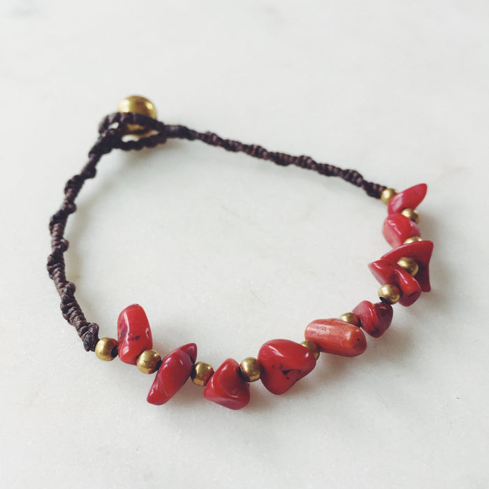 Red Turquoise Bohemian Bracelet