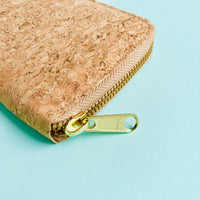 YKK metal zipper detail of By The Sea Collection, Iggy, women's vegan cork leather wallet