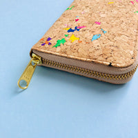 By The Sea Collection, Iggy, colourful women's vegan cork leather zipper wallet's gold zipper detail