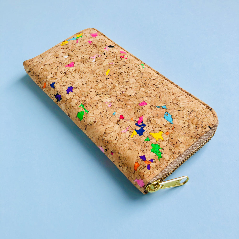 By The Sea Collection, Iggy, colourful women's vegan cork leather zipper wallet