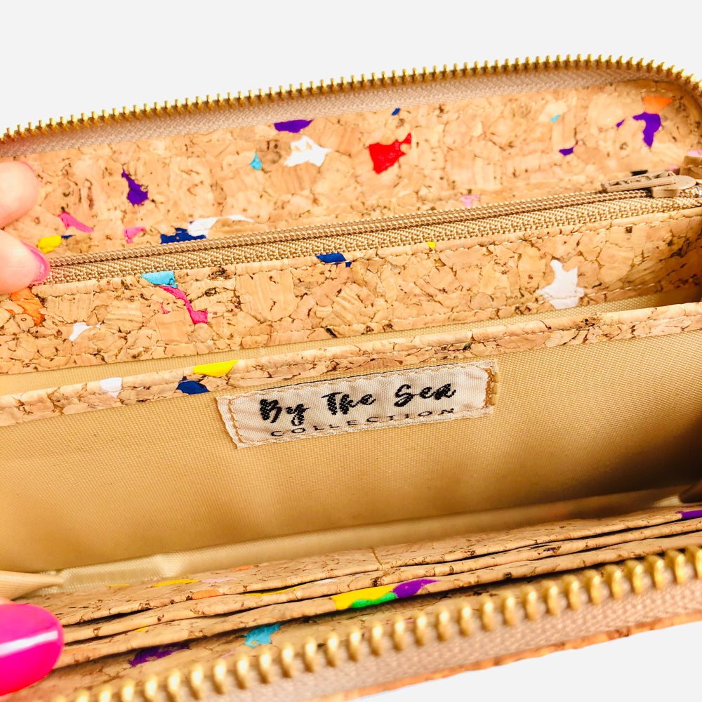 Colourful Women's Vegan Cork Leather Wallet With Gold Zipper