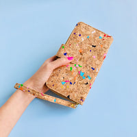 Women using wristlet of By The Sea Collection, Izzy, colourful vegan cork leather women's wallet