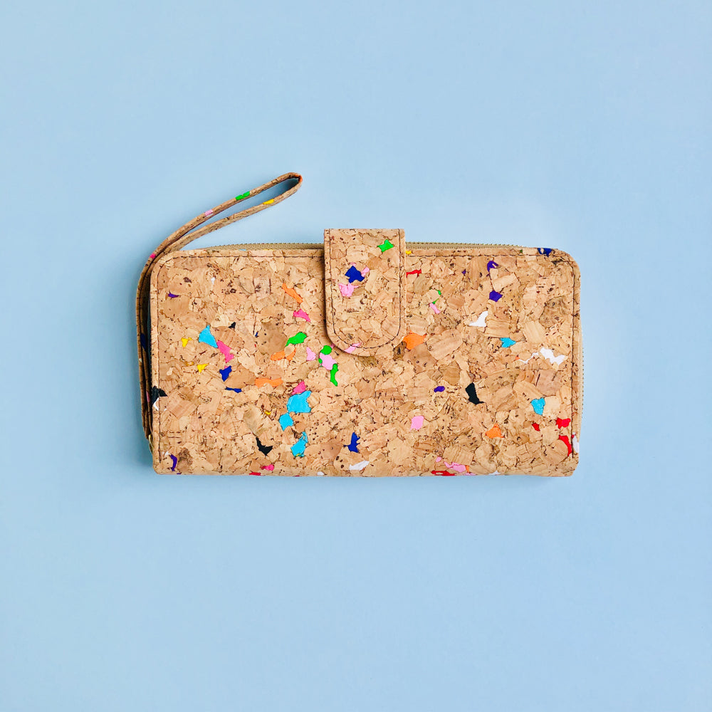 By The Sea Collection, Izzy, colourful vegan cork leather women's wallet
