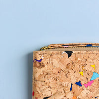 YKK metal zipper detail of By The Sea Collection, Izzy, colourful vegan cork leather women's wallet