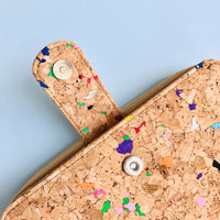 Magnet closure detail of By The Sea Collection, Izzy, colourful vegan cork leather women's wallet