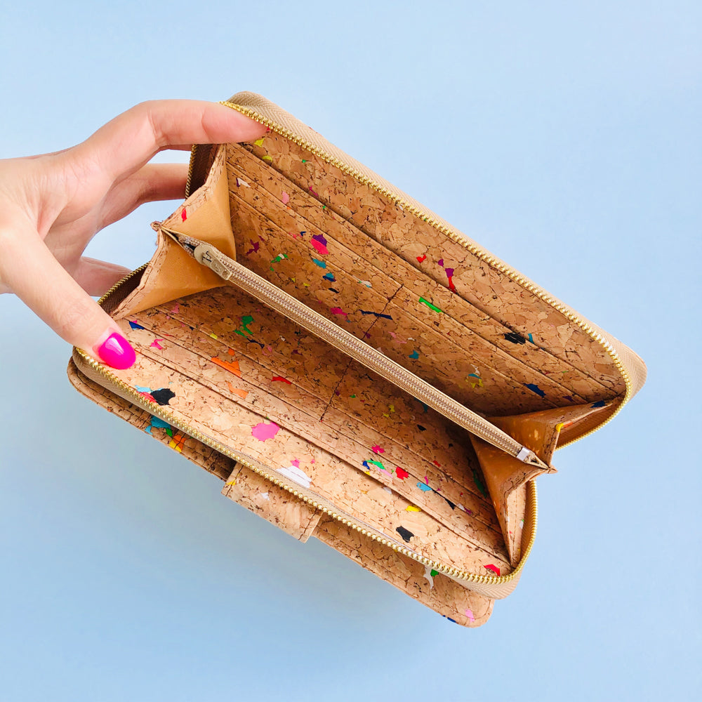 Interior of By The Sea Collection, Izzy, colourful vegan cork leather women's wallet