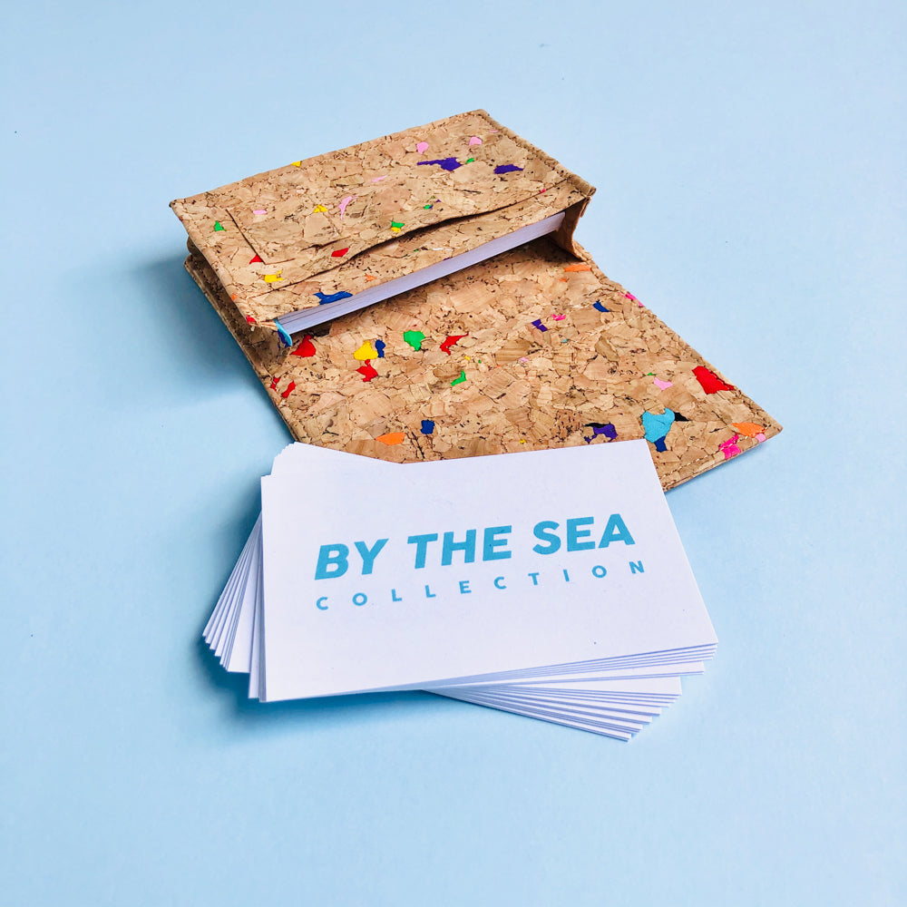 By The Sea Collection, Kevin, colourful vegan cork leather card holder filled with business cards
