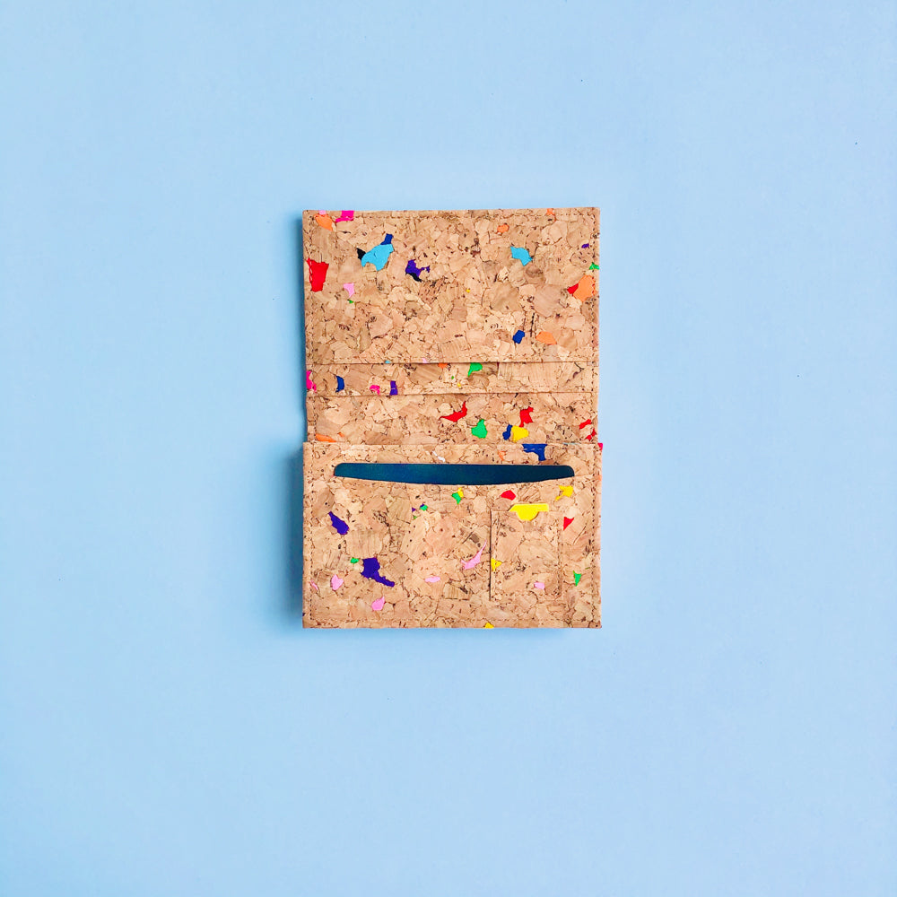 The inside of By The Sea Collection, Kevin, colourful vegan cork leather card holder