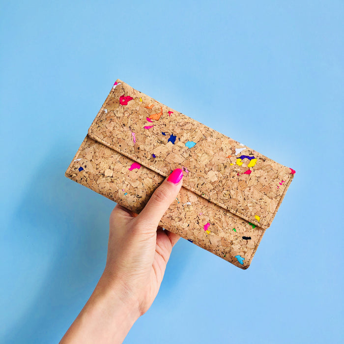 Women holding By The Sea Collection, Lara, colourful women's vegan cork leather wallet