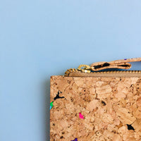 Metal YKK zipper of By The Sea Collection, Lizzie, colourful women's vegan cork leather wallet