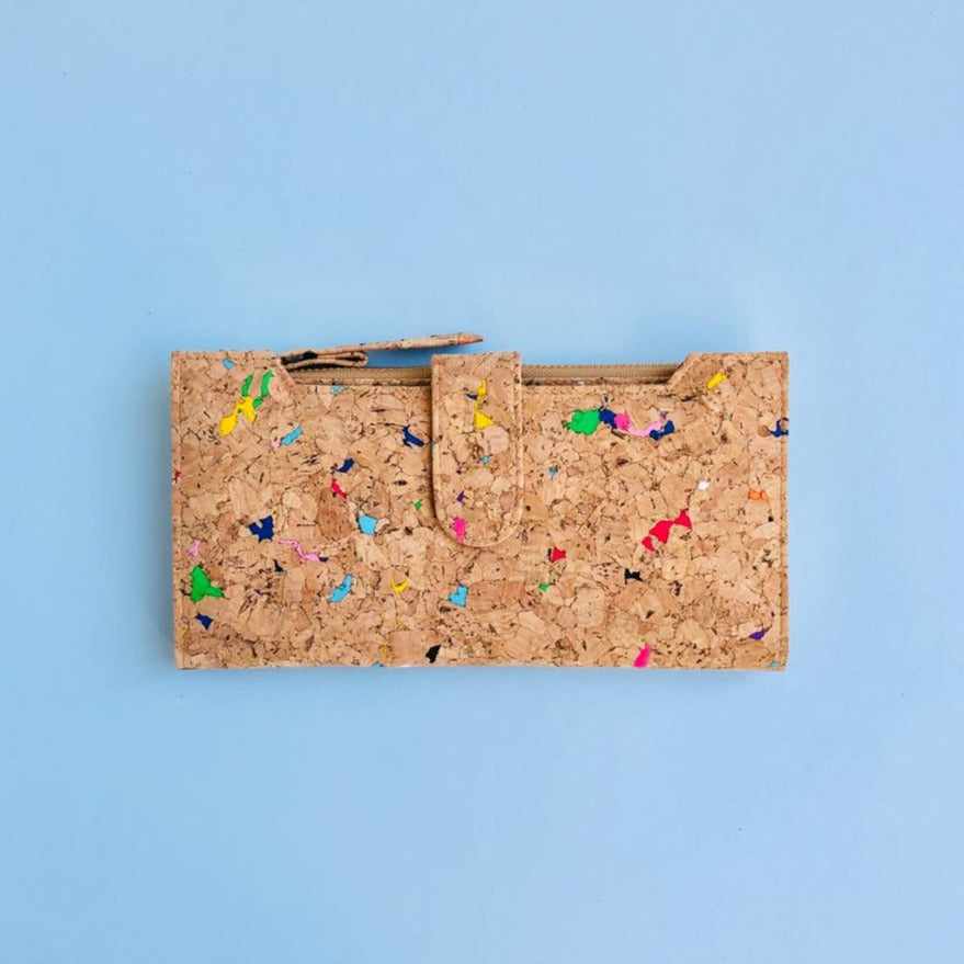 By The Sea Collection, Lizzie, colourful women's vegan cork leather wallet