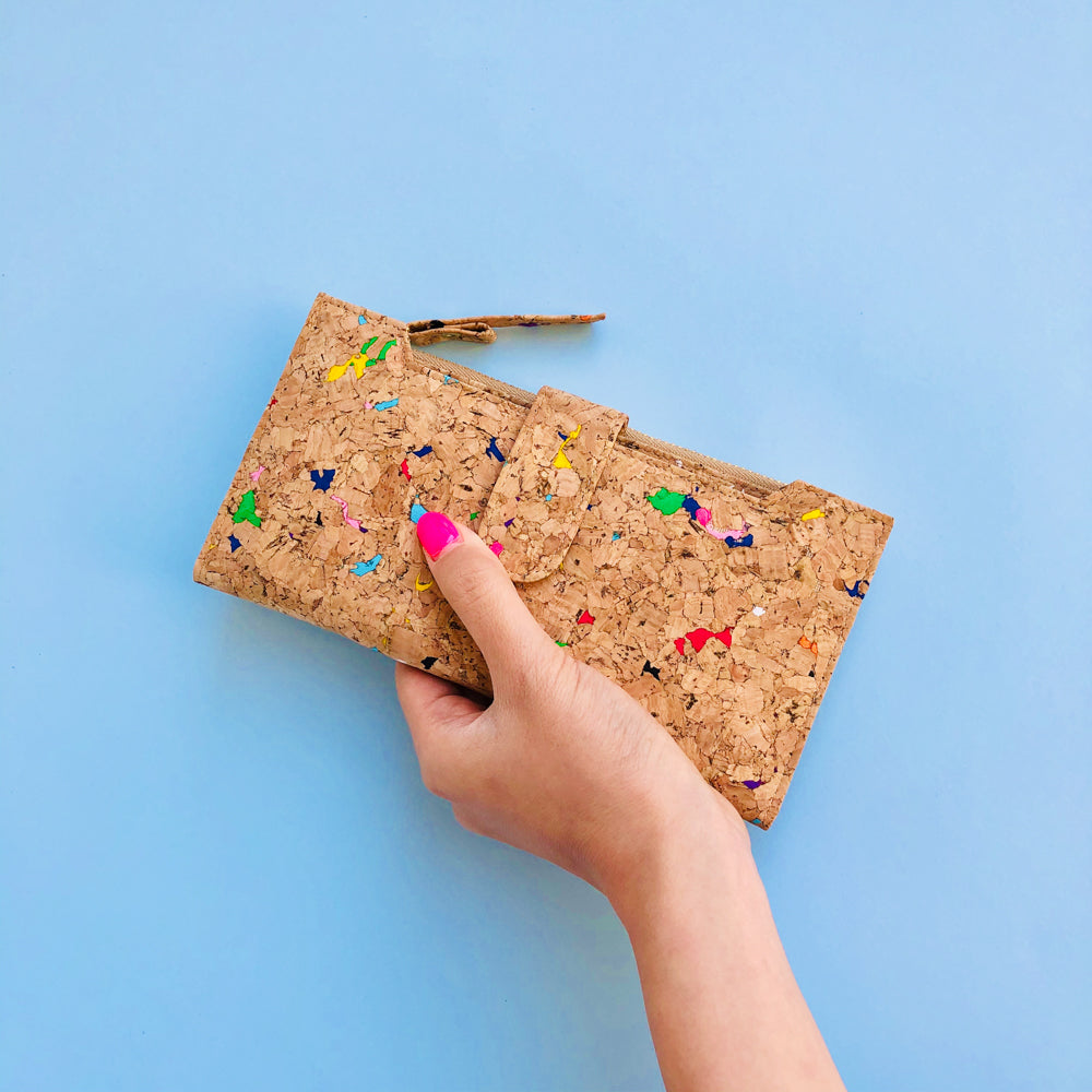 Women holding By The Sea Collection, Lizzie, colourful women's vegan cork leather wallet