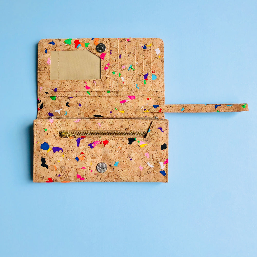 The inside of By The Sea Collection, Lola, colourful women's vegan cork leather wallet