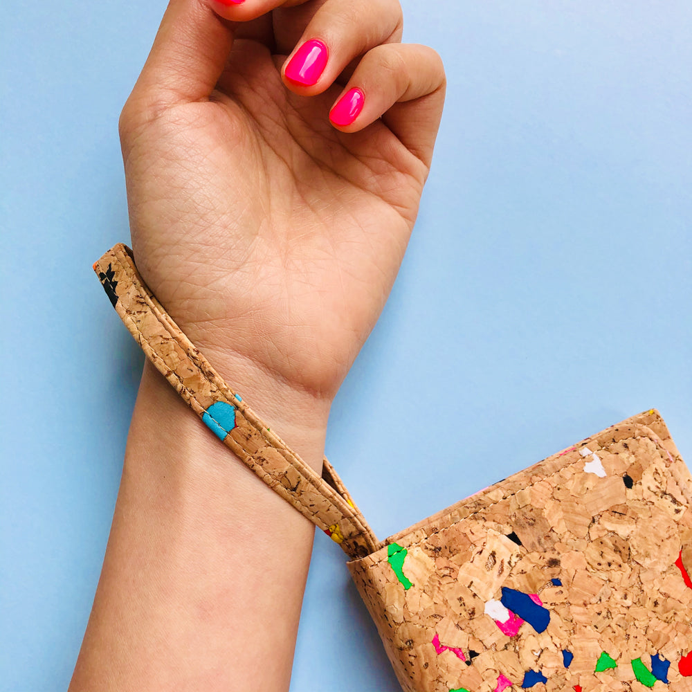 Women using wristlet of By The Sea Collection, Lola, colourful women's vegan cork leather wallet