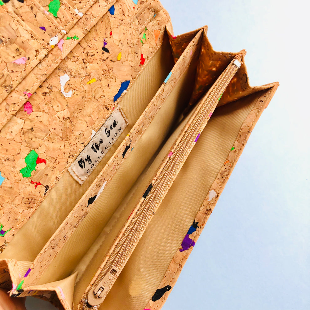 Bill slots inside of By The Sea Collection, Lola, colourful women's vegan cork leather wallet