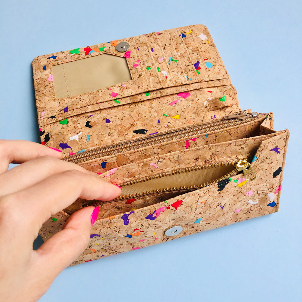YKK zipper inside of By The Sea Collection, Lola, colourful women's vegan cork leather wallet