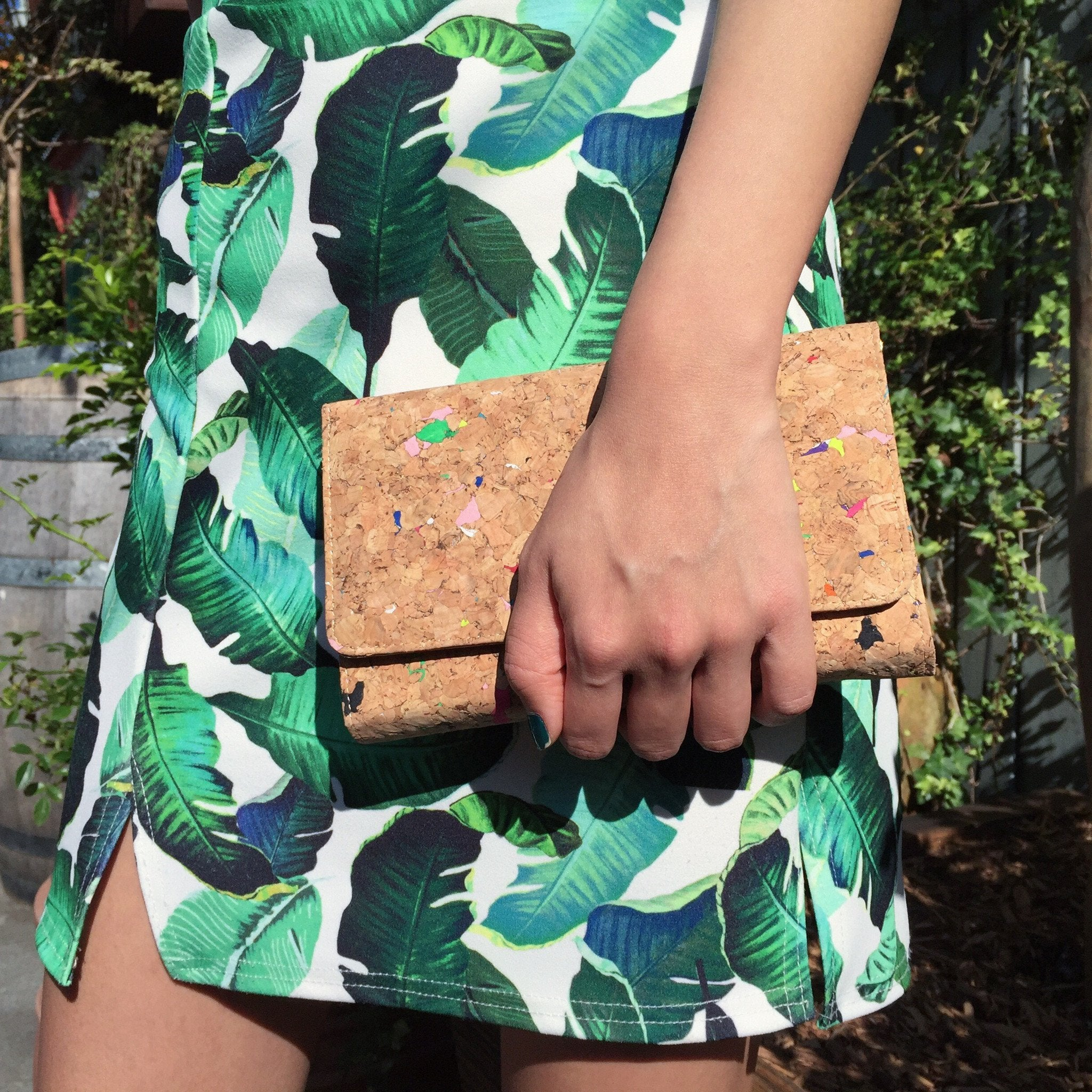 Colourful Vivid Lyla Cork Clutch Crossbody Purse Cruelty Free Ethical Vegan Recycled