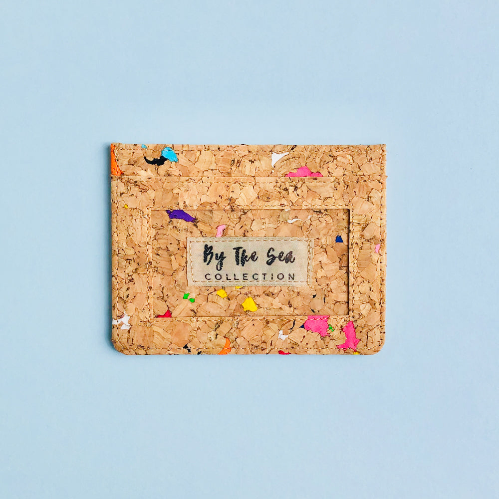 By The Sea Collection, Max, colourful vegan cork leather card holder