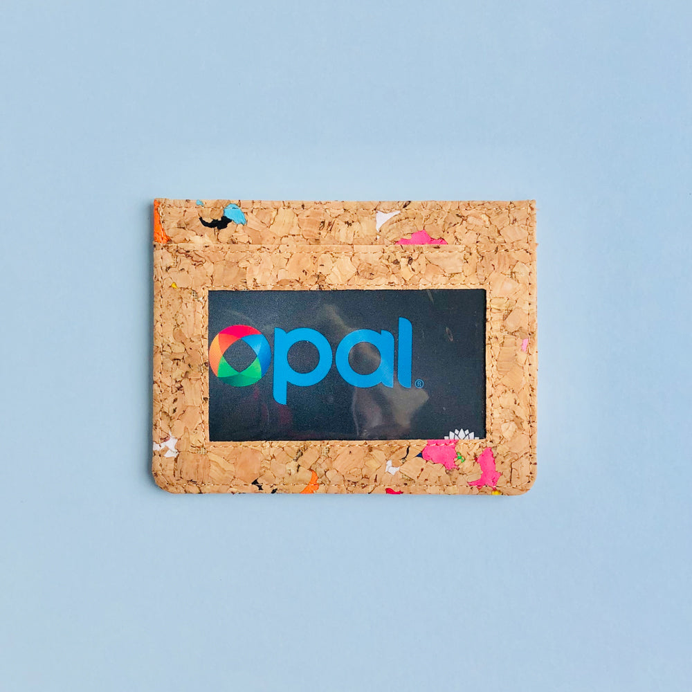 Opal Card in By The Sea Collection, Max, colourful vegan cork leather card holder