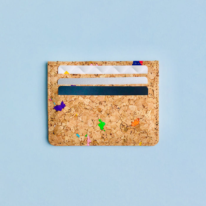 Cards in By The Sea Collection, Max, colourful vegan cork leather card holder