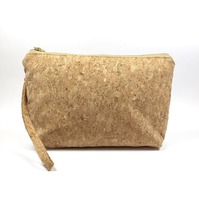 Plain Classic Miley Cork Makeup Clutch Bag Natural Cruelty Free Ethical Vegan Recycled