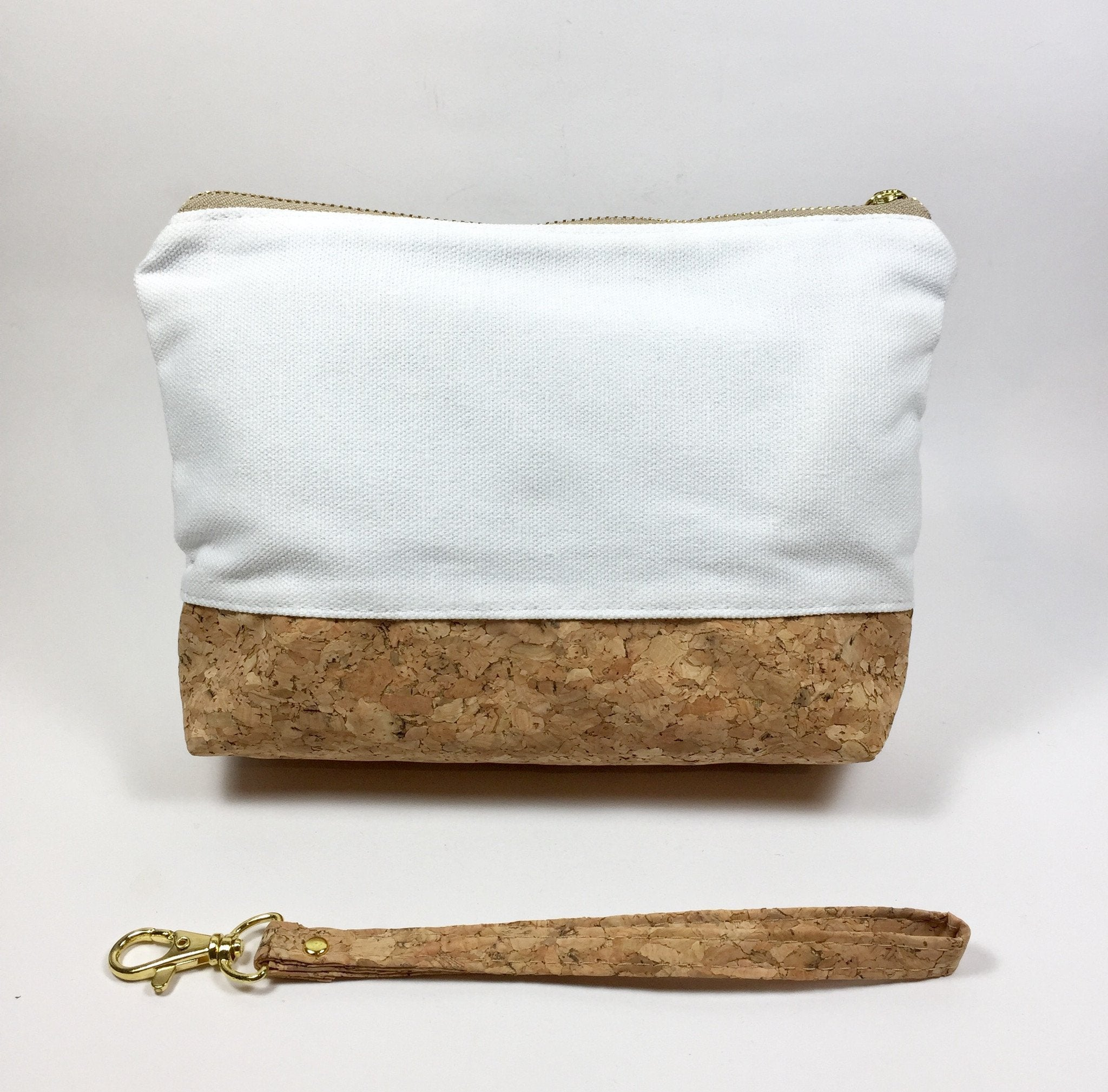 Plain Classic Miley Cork and Canvas Makeup Clutch Bag Natural Cruelty Free Ethical Vegan Recycled
