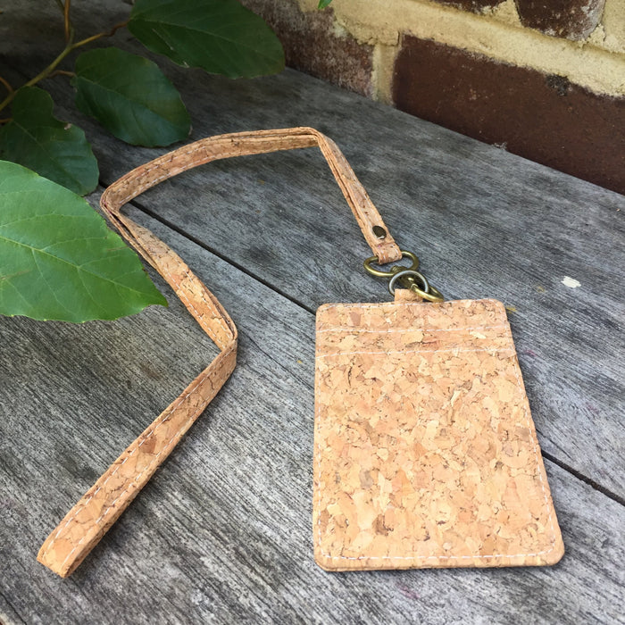Plain Classic Mike Cork ID Lanyard Card Holder Natural Cruelty Free Ethical Vegan Recycled