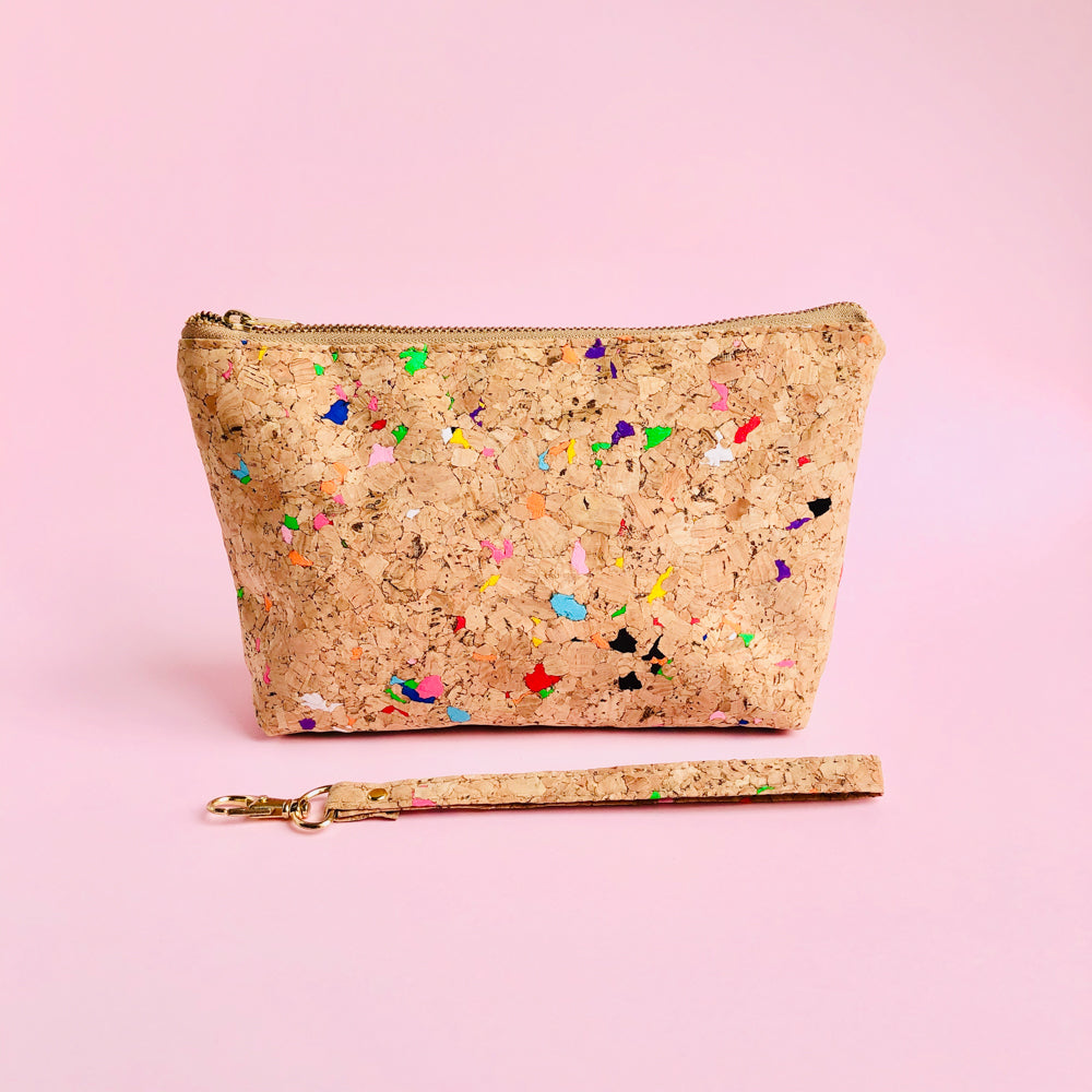 Detached wrist strap of By The Sea Collection, Miley, colourful vegan cork leather make up bag