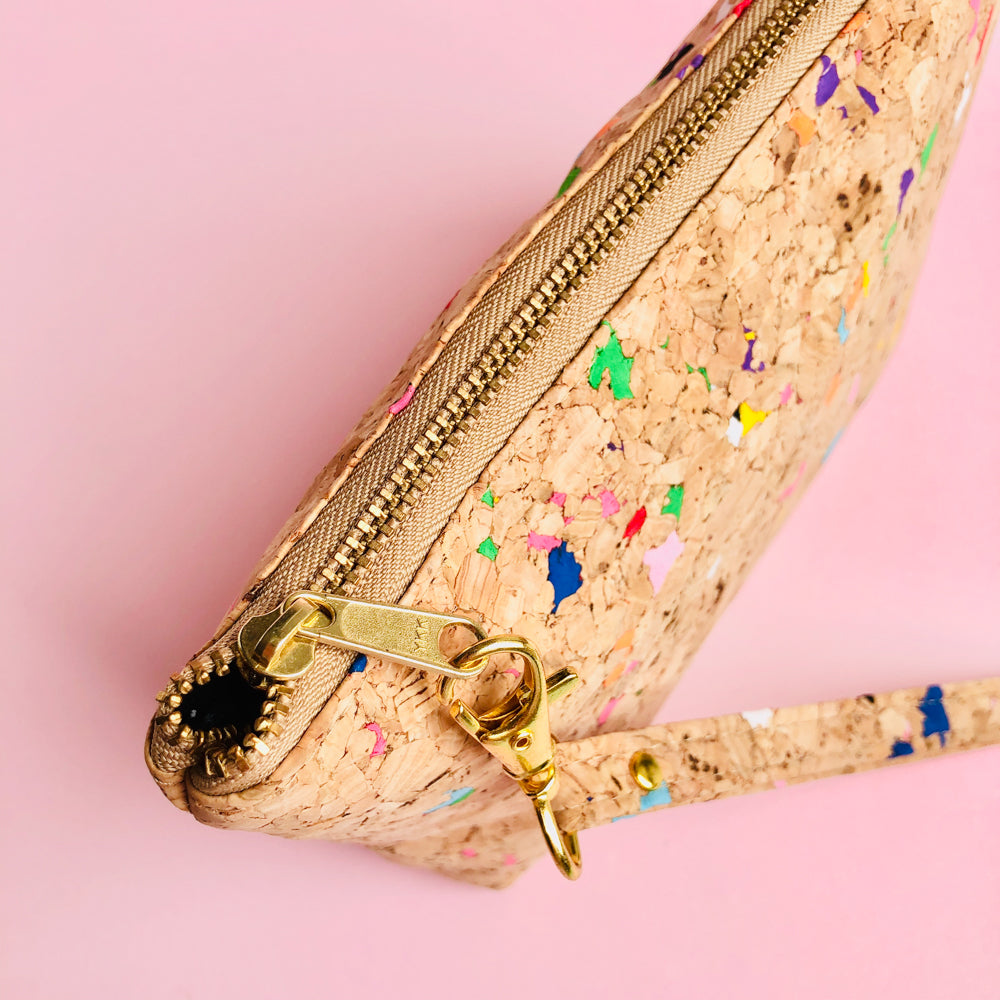 YKK metal zipper detail of By The Sea Collection, Miley, colourful vegan cork leather make up bag