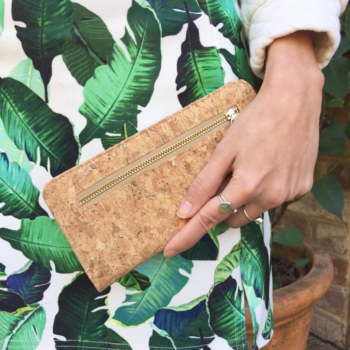 Plain Classic Nikki Cork Wallet Purse Natural Cruelty Free Ethical Vegan Recycled