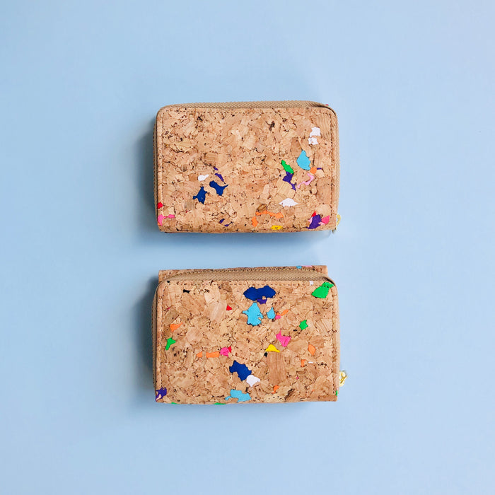 Two By The Sea Collection, Nina, colourful vegan cork leather compact wallets