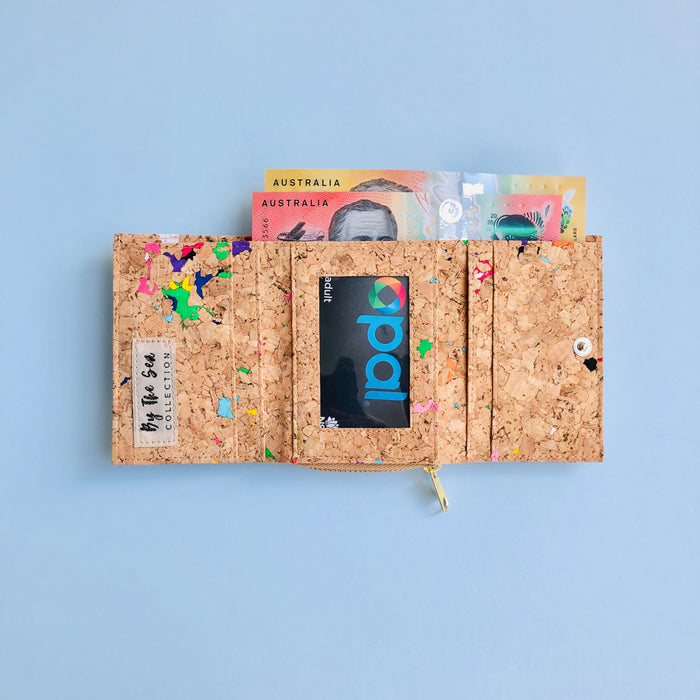 Interior of By The Sea Collection, Nina, colourful vegan cork leather compact wallet