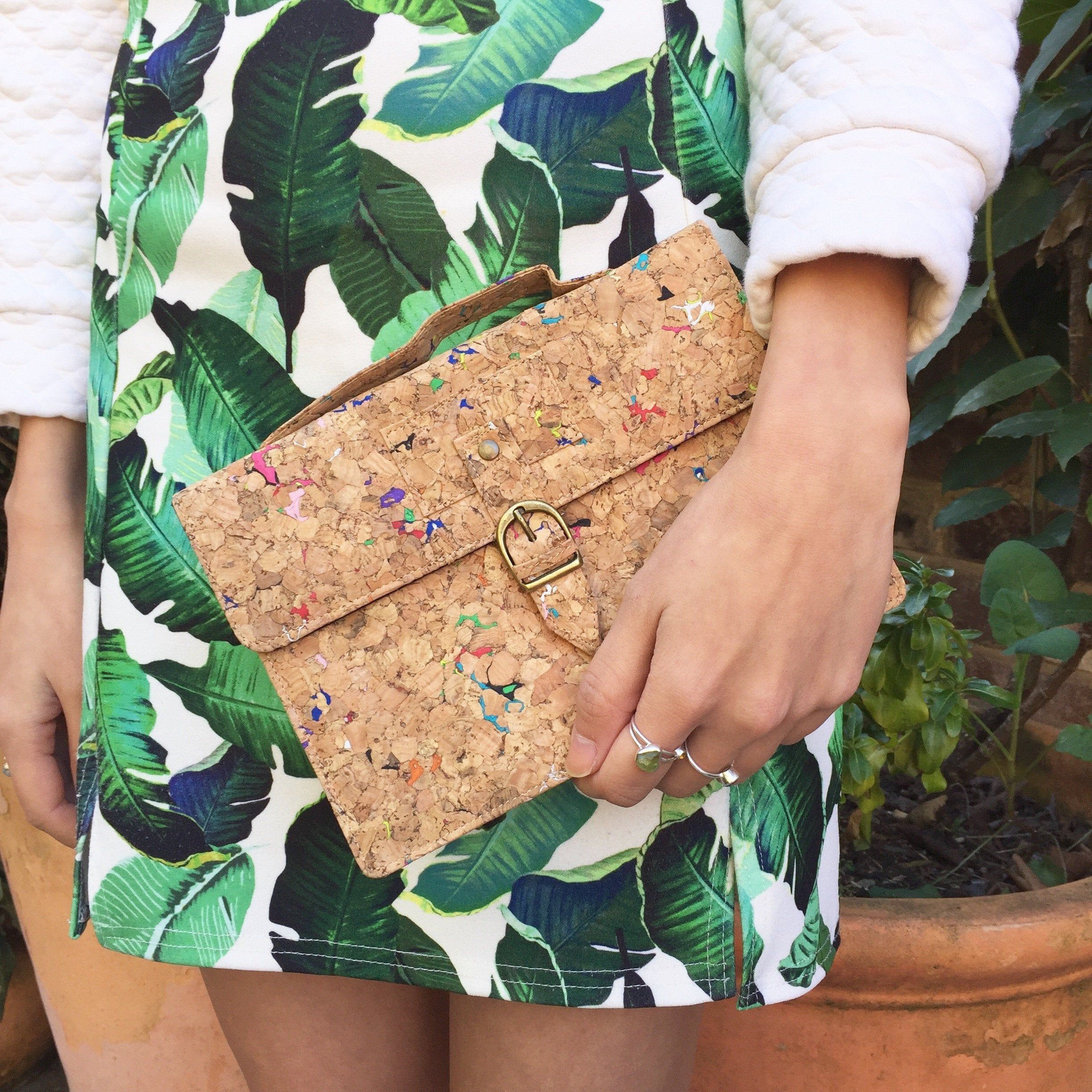 Colourful Vivid Kiki Cork Crossbody Clutch Bag Cruelty Free Ethical Vegan Recycled